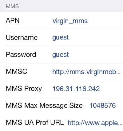 Virgin Mobile MMS APN settings for iOS9 screenshot