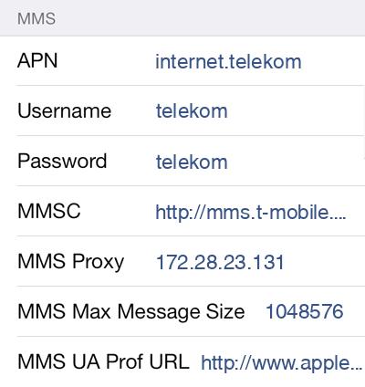 Telekom  APN settings for iOS9 screenshot
