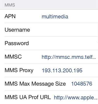 Telfort   MMS APN settings for iOS9 screenshot