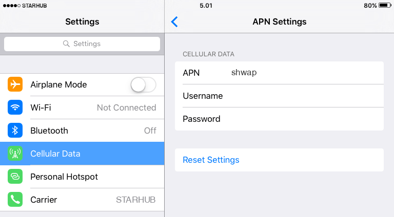 Starhub Internet APN settings for iOS9 iPad screenshot