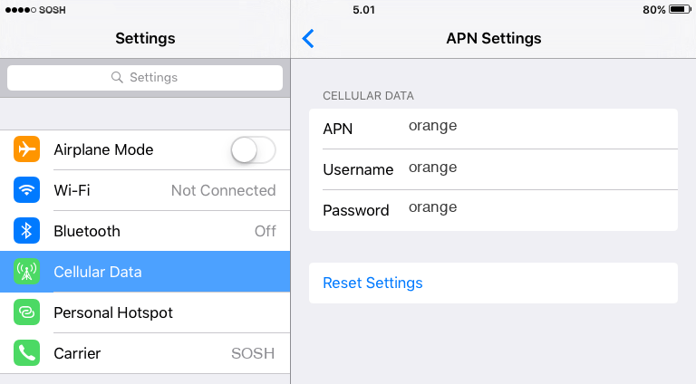Sosh Internet APN settings for iOS9 iPad screenshot