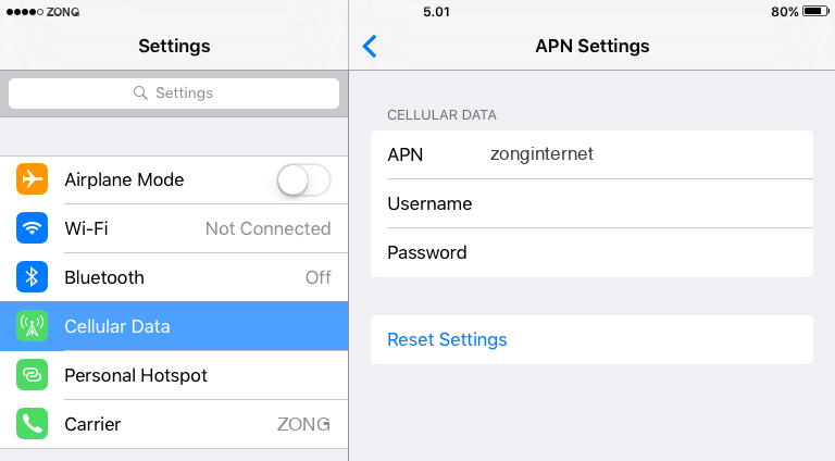 Zong Internet APN settings for iOS9 iPad screenshot
