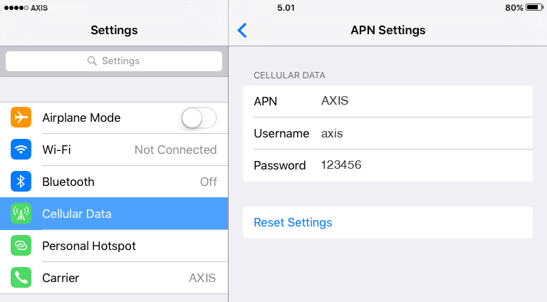 Axis Internet APN settings for iOS9 iPad screenshot