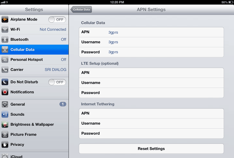 3 Internet APN settings for iPad screenshot