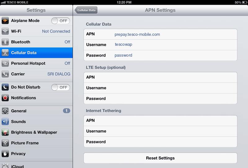 Tesco Mobile Internet APN settings for iPad screenshot