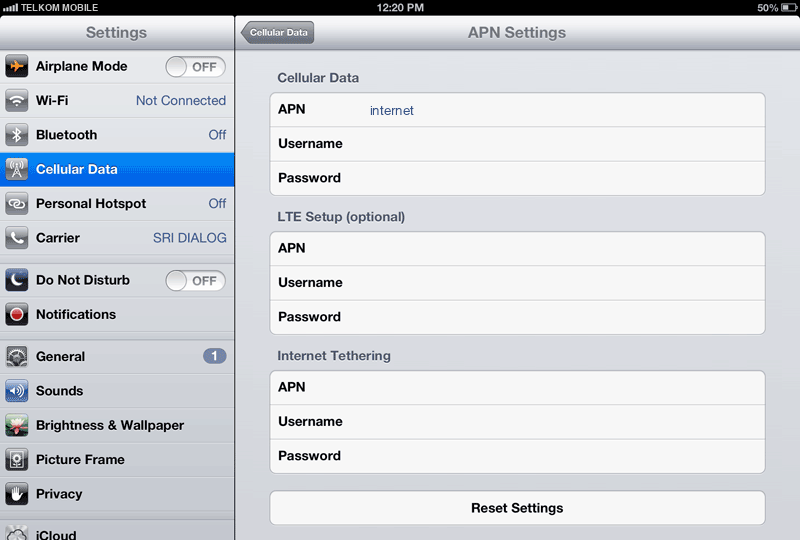 Telkom Mobile Internet APN settings for iPad screenshot