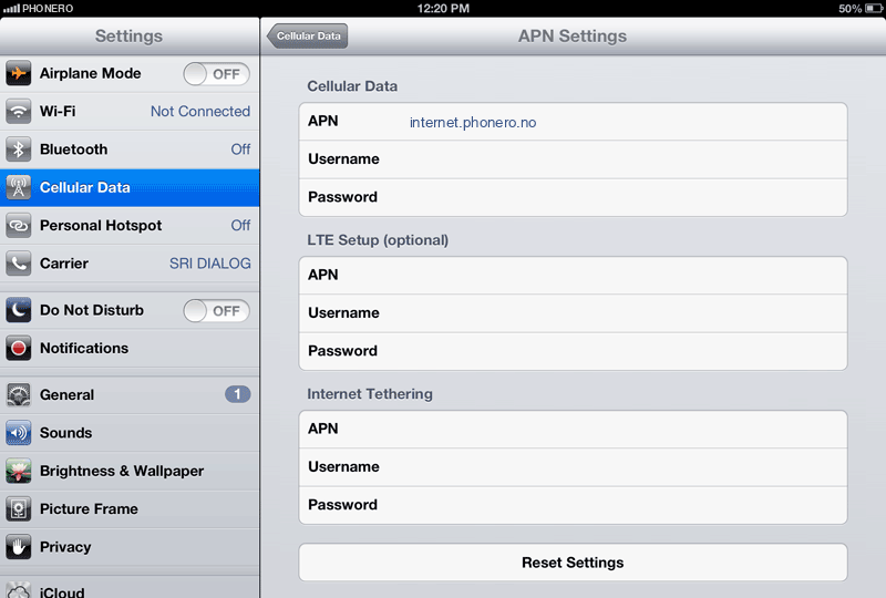 Phonero Internet APN settings for iPad screenshot