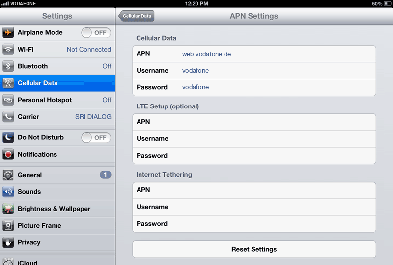 Vodafone Internet APN settings for iPad screenshot