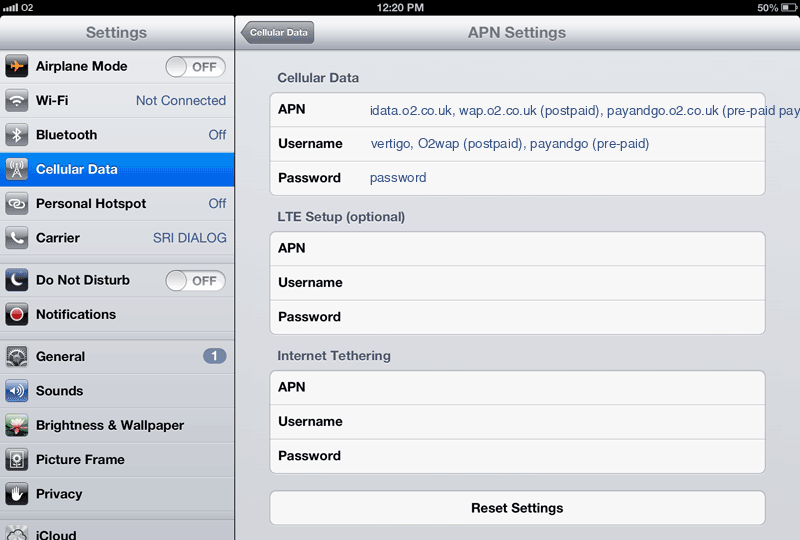 O2  APN settings for iPad screenshot
