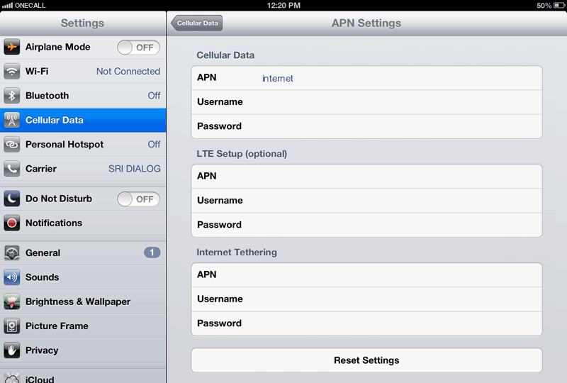 OneCall Internet APN settings for iPad screenshot