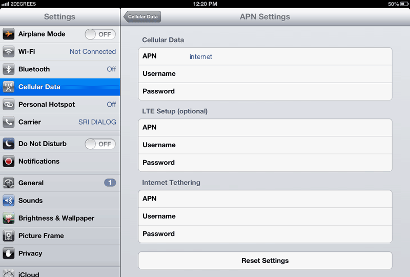 2Degrees Internet APN settings for iPad screenshot