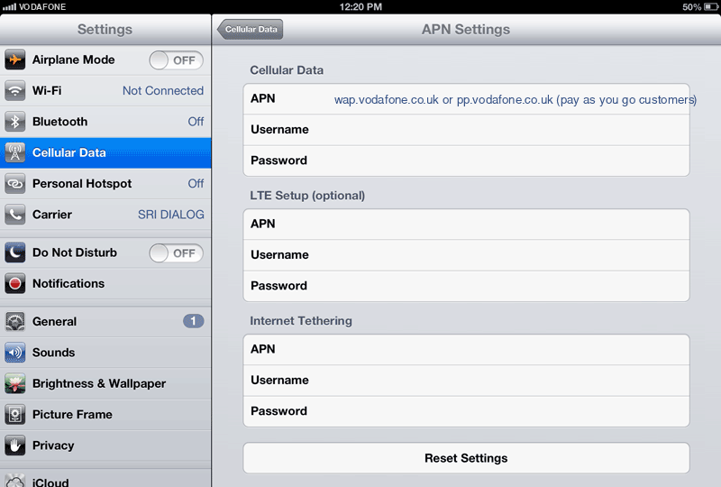 Vodafone  APN settings for iPad screenshot