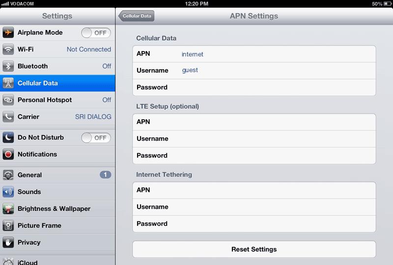 Vodacom Internet APN settings for iPad screenshot