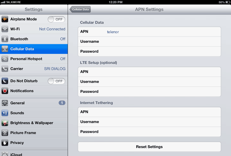 TalkMore Internet APN settings for iPad screenshot