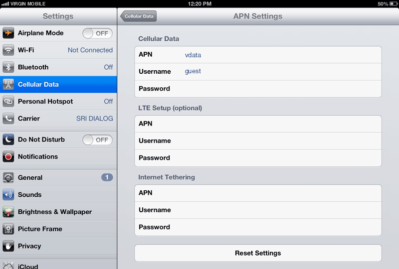 Virgin Mobile Internet APN settings for iPad screenshot