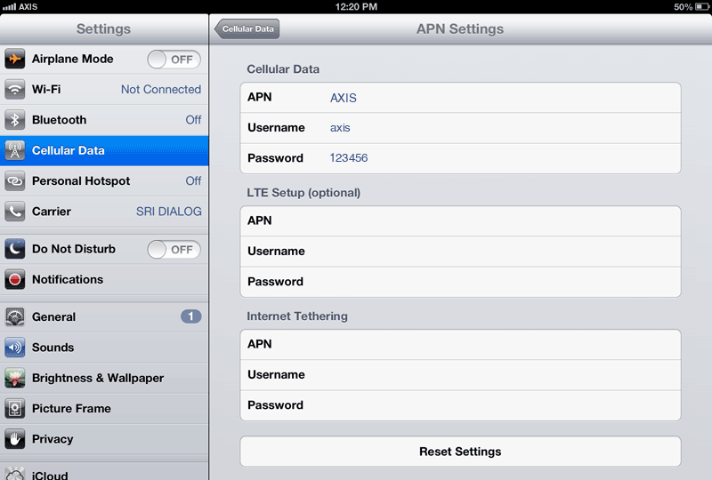 Axis Internet APN settings for iPad screenshot