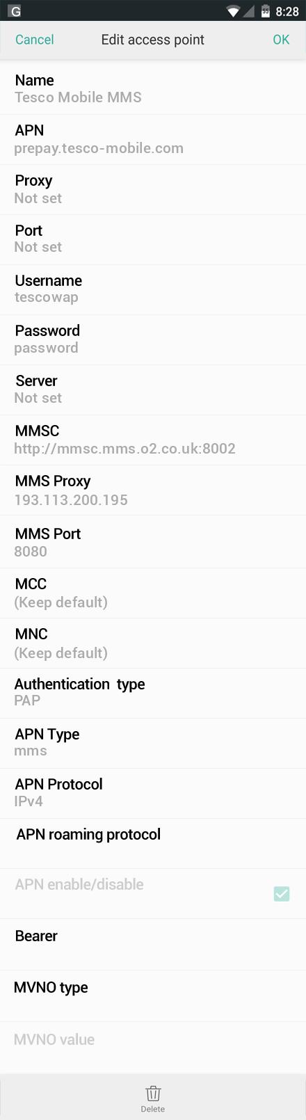 Tesco Mobile Oppo R7 lite MMS APN Settings for United ...