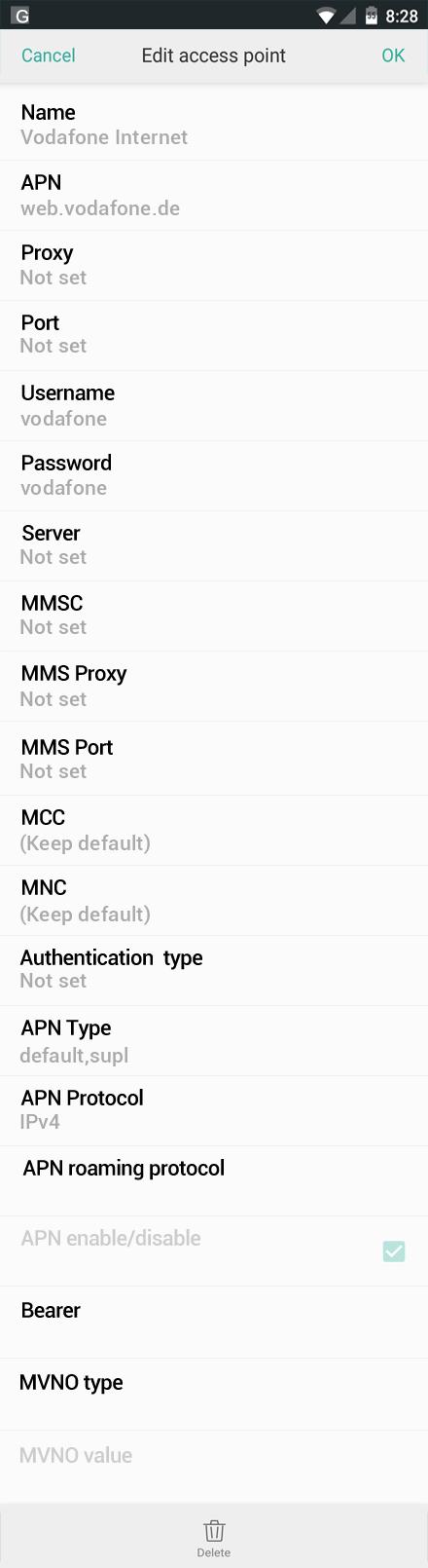Vodafone Internet APN settings for Oppo screenshot