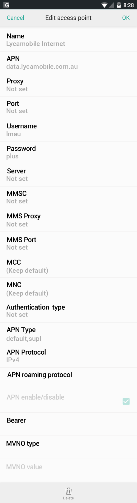 Lycamobile Internet APN settings for Oppo screenshot
