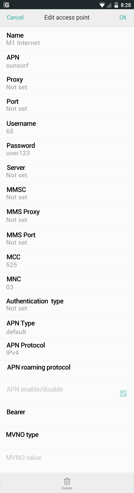 M1 Internet APN settings for Oppo screenshot