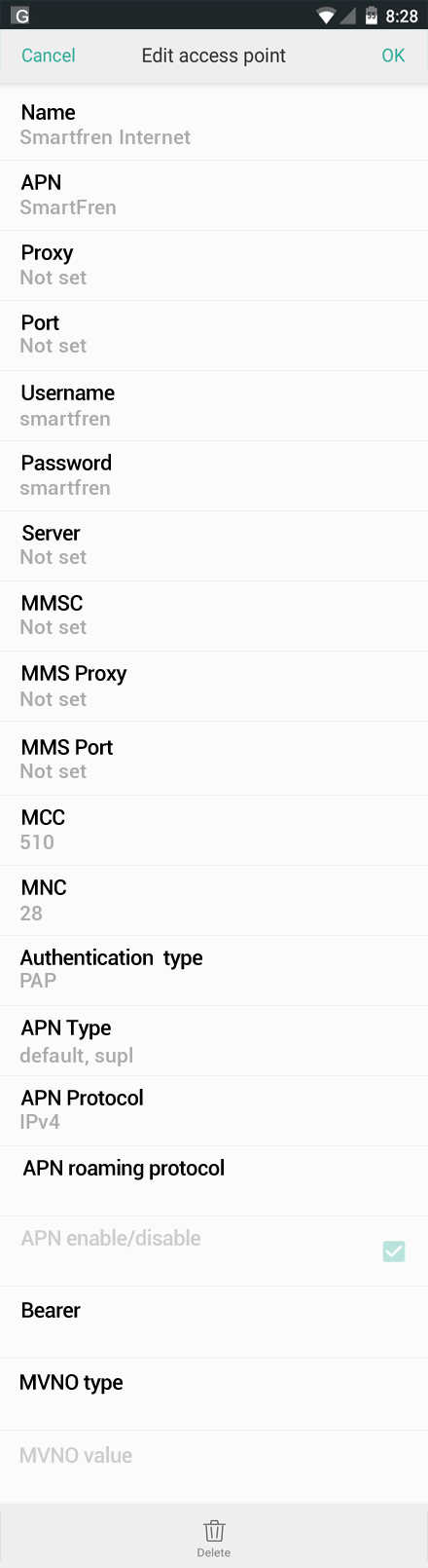 Smartfren Internet APN settings for Oppo screenshot