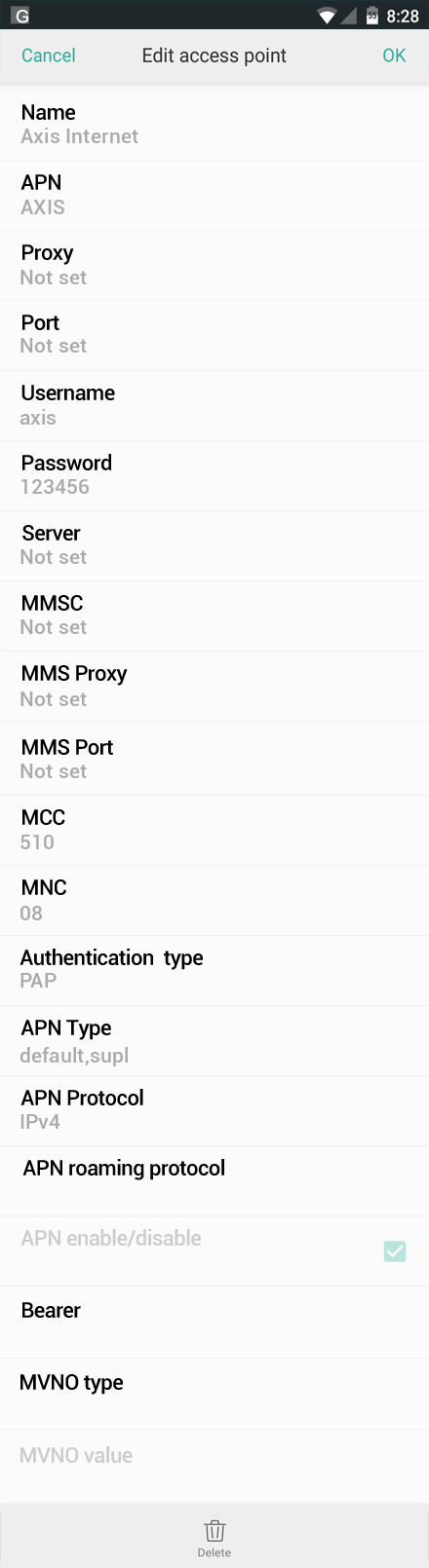 Axis Internet APN settings for Oppo screenshot