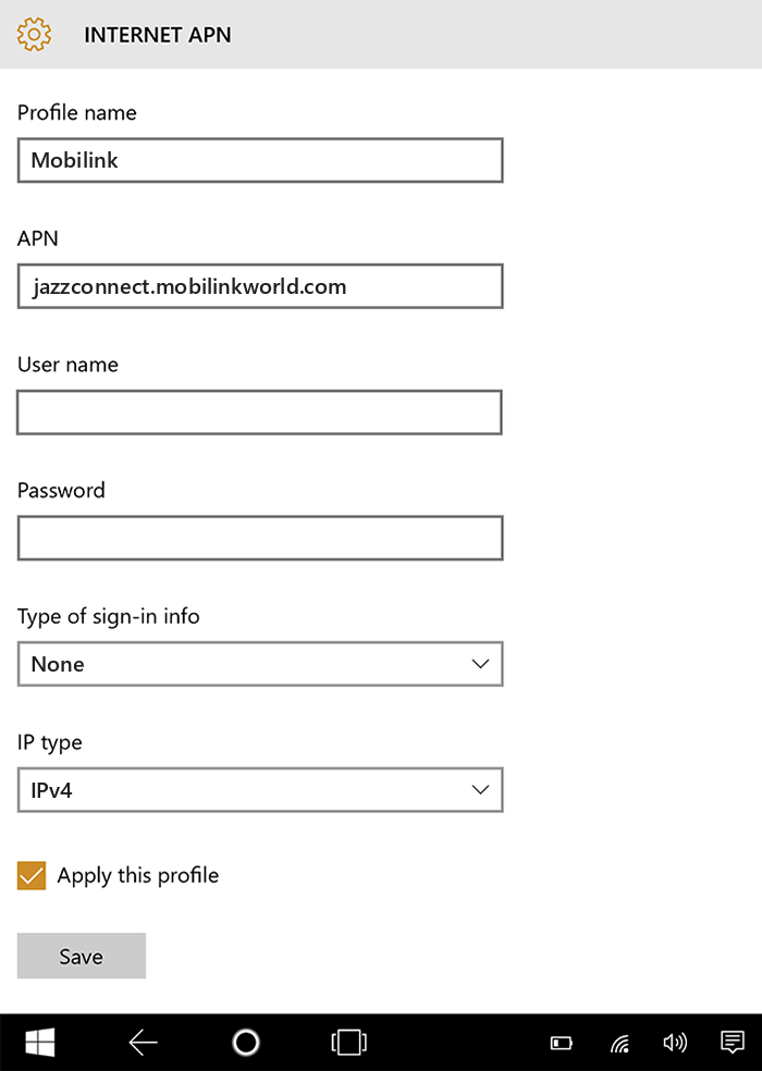 Mobilink Internet APN settings for Windows 10 tab