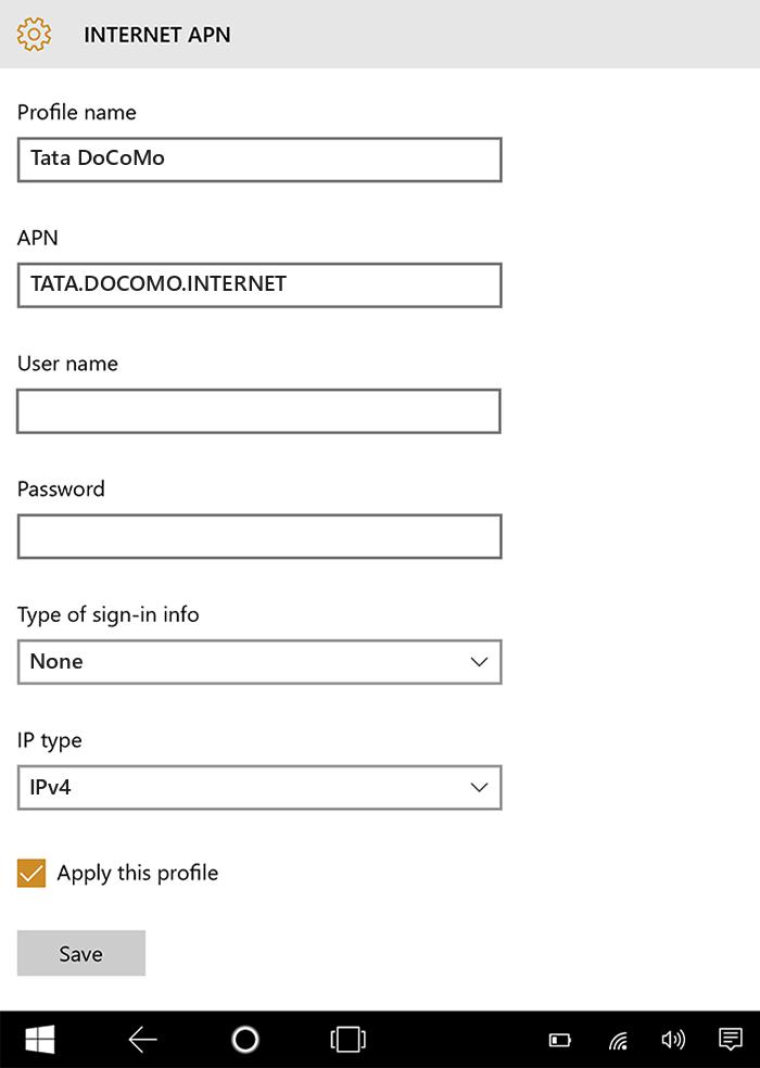 Tata DoCoMo Internet APN settings for Windows 10 tab
