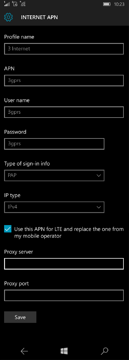 3 Internet APN settings for Windows 10 screenshot