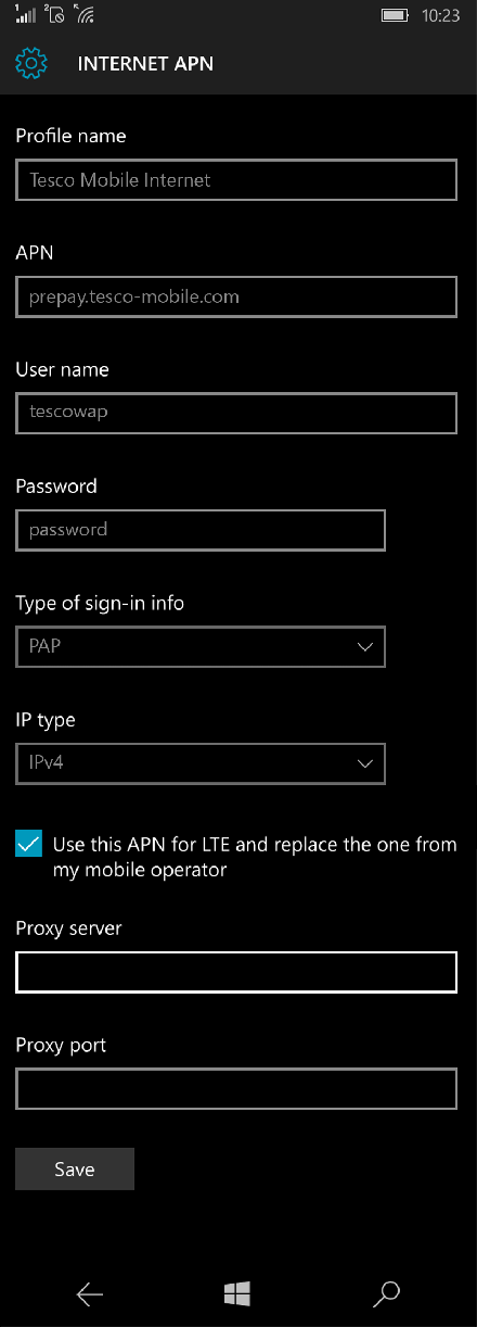 Tesco Mobile Internet APN settings for Windows 10 screenshot
