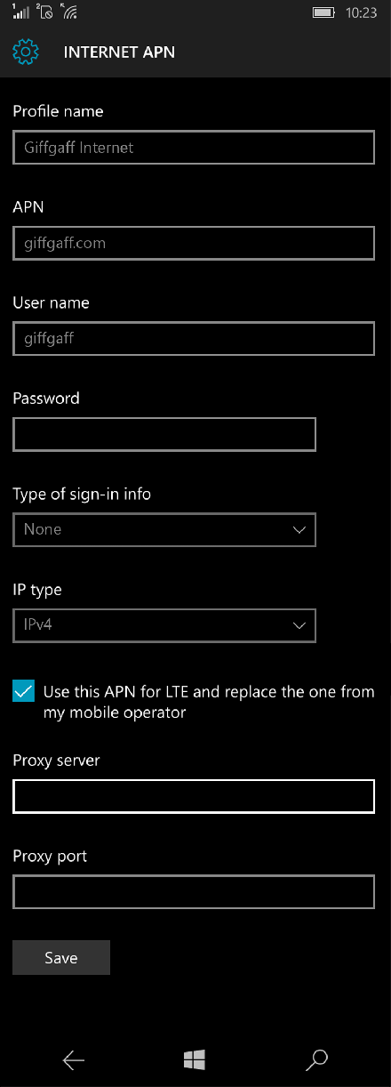 Giffgaff Internet APN settings for Windows 10 screenshot