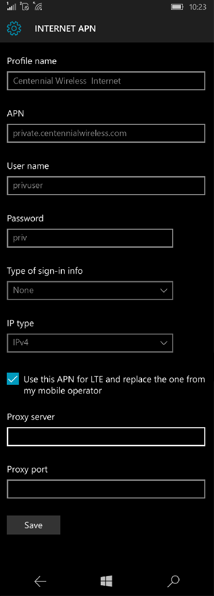 Centennial Wireless  Internet APN settings for Windows 10 screenshot