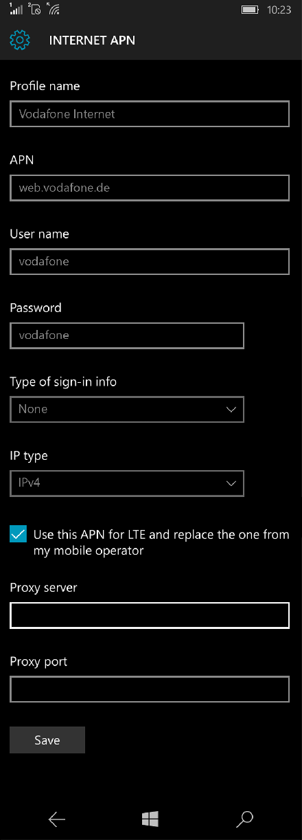 Vodafone Internet APN settings for Windows 10 screenshot