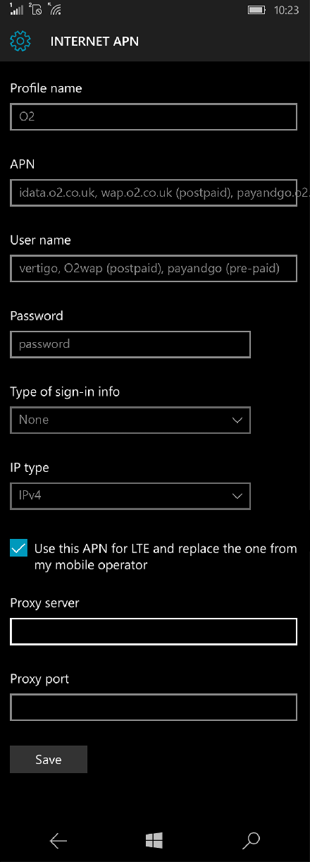 O2  APN settings for Windows 10 screenshot