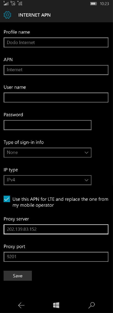 Dodo Internet APN settings for Windows 10 screenshot