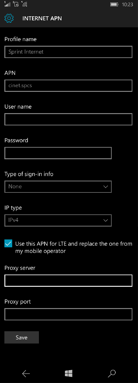 Sprint Internet APN settings for Windows 10 screenshot