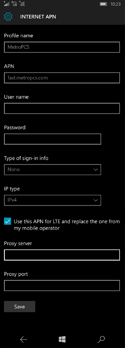 MetroPCS  APN settings for Windows 10 screenshot