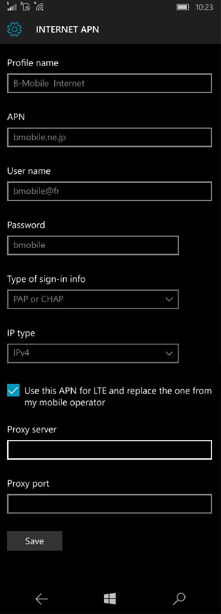B-Mobile  Internet APN settings for Windows 10 screenshot
