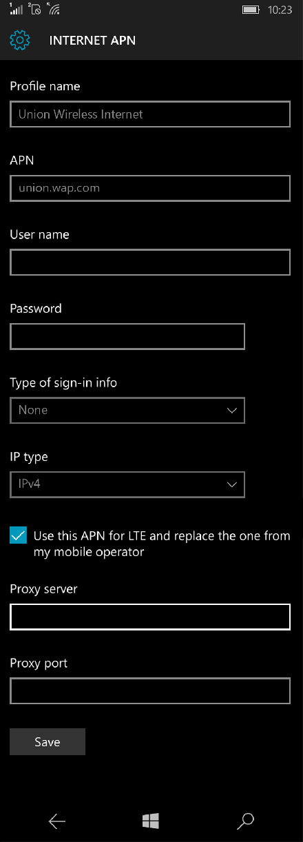 Union Wireless Internet APN settings for Windows 10 screenshot