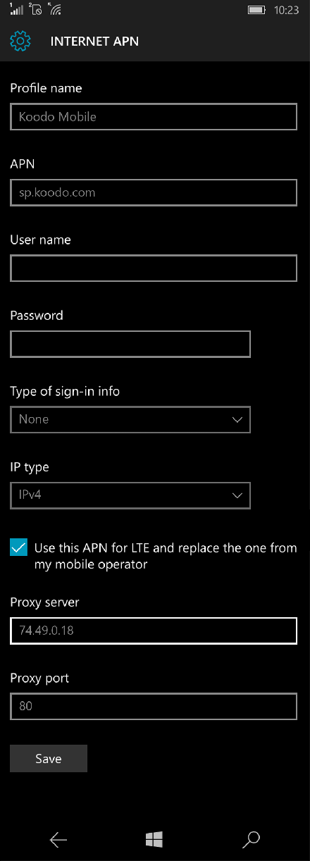 Koodo Mobile  APN settings for Windows 10 screenshot