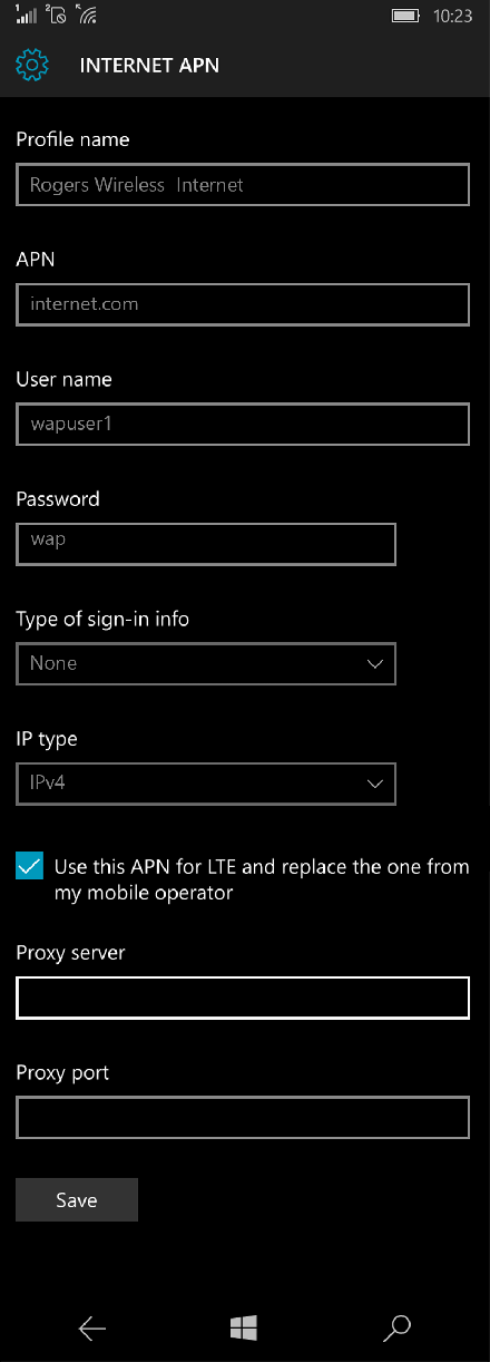 Rogers Wireless  Internet APN settings for Windows 10 screenshot