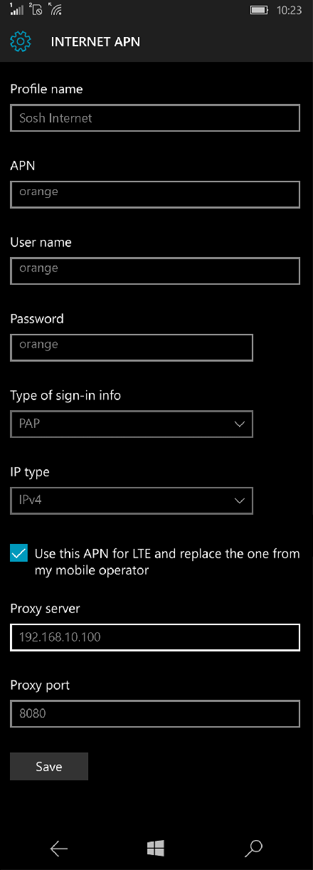 Sosh Internet APN settings for Windows 10 screenshot