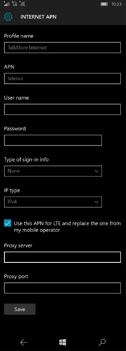TalkMore Internet APN settings for Windows 10 screenshot