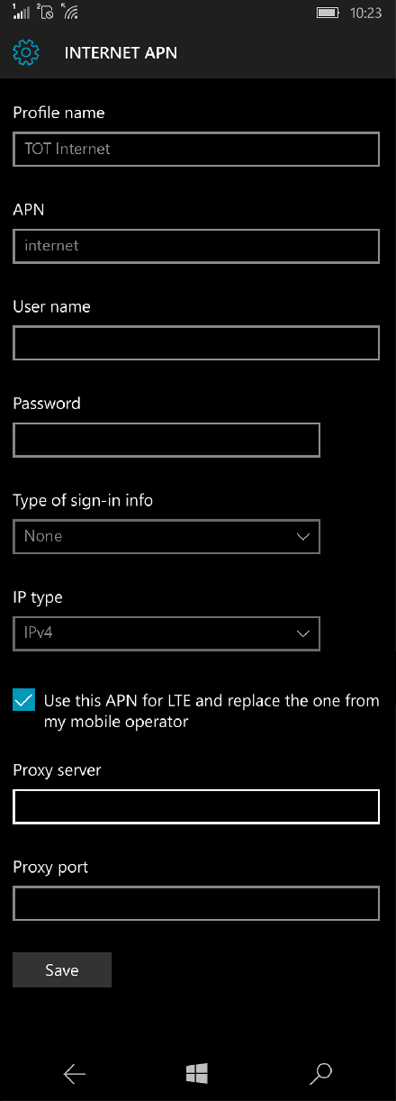 TOT Internet APN settings for Windows 10 screenshot