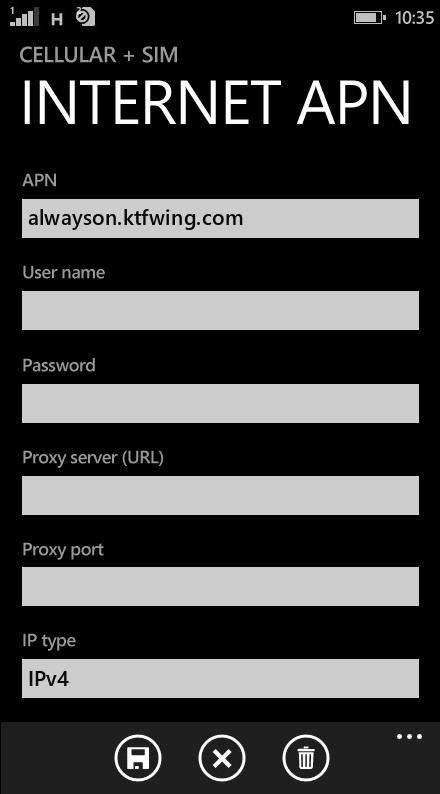 KT  APN settings for Windows Phone 8.1 screenshot