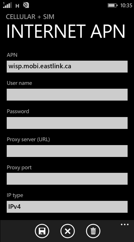 Eastlink Internet APN settings for Windows Phone 8.1 screenshot