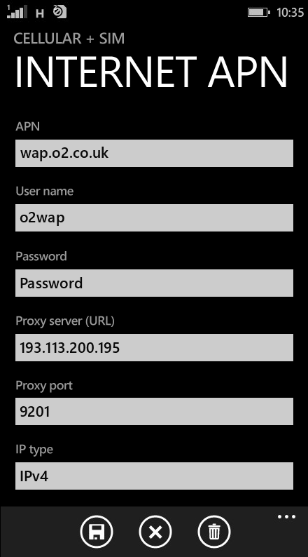 Mobal Internet APN settings for Windows Phone 8.1 screenshot