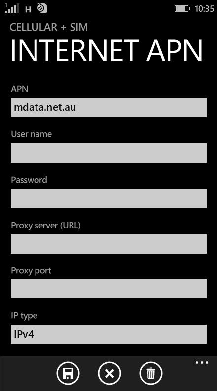 ALDI  APN settings for Windows Phone 8.1 screenshot