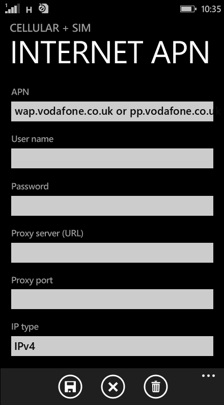 Vodafone  APN settings for Windows Phone 8.1 screenshot
