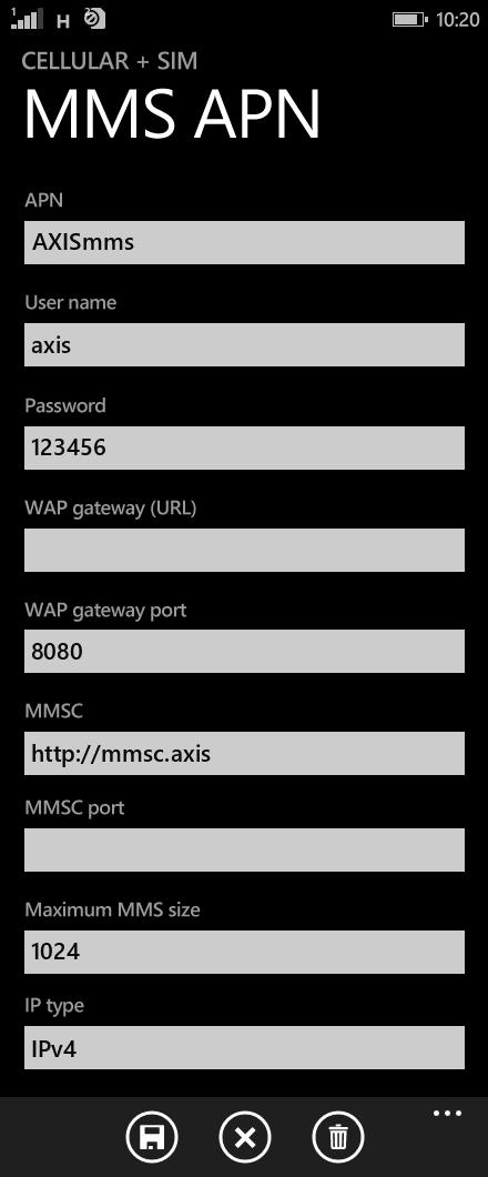 Axis MMS APN settings for Windows Phone 8.1 screenshot